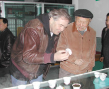 Austin studies tea with the late Yao Yue Ming who is a famous rock wulong tea master