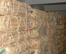 Puer cakes stored in bamboo packages