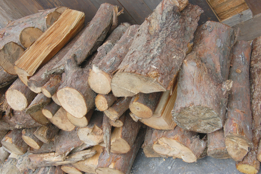 A pile of red pine logs used for smoking Lapsang Souchong