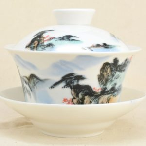 Colorful Countryside Large Ceramic Gaiwan, front view