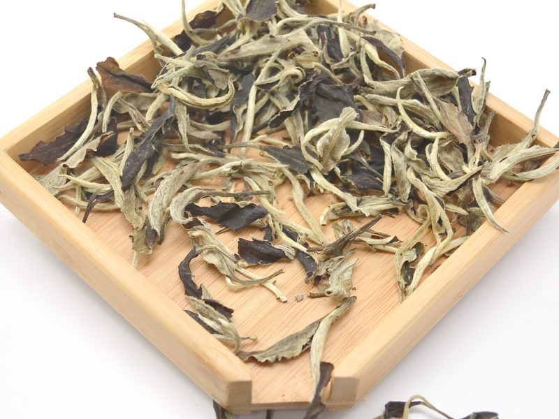Dry tea leaves of White Moonlight sheng puer tea
