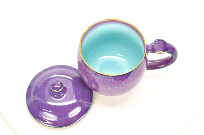 Violet Cup with Lid with lid open to show pale blue inside