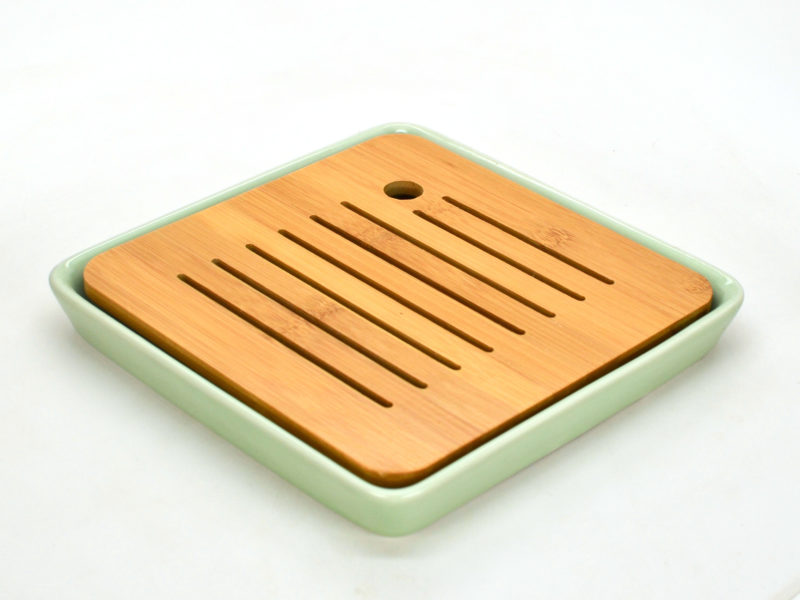 Green Porcelain and Bamboo Draining Tea Tray, angle view
